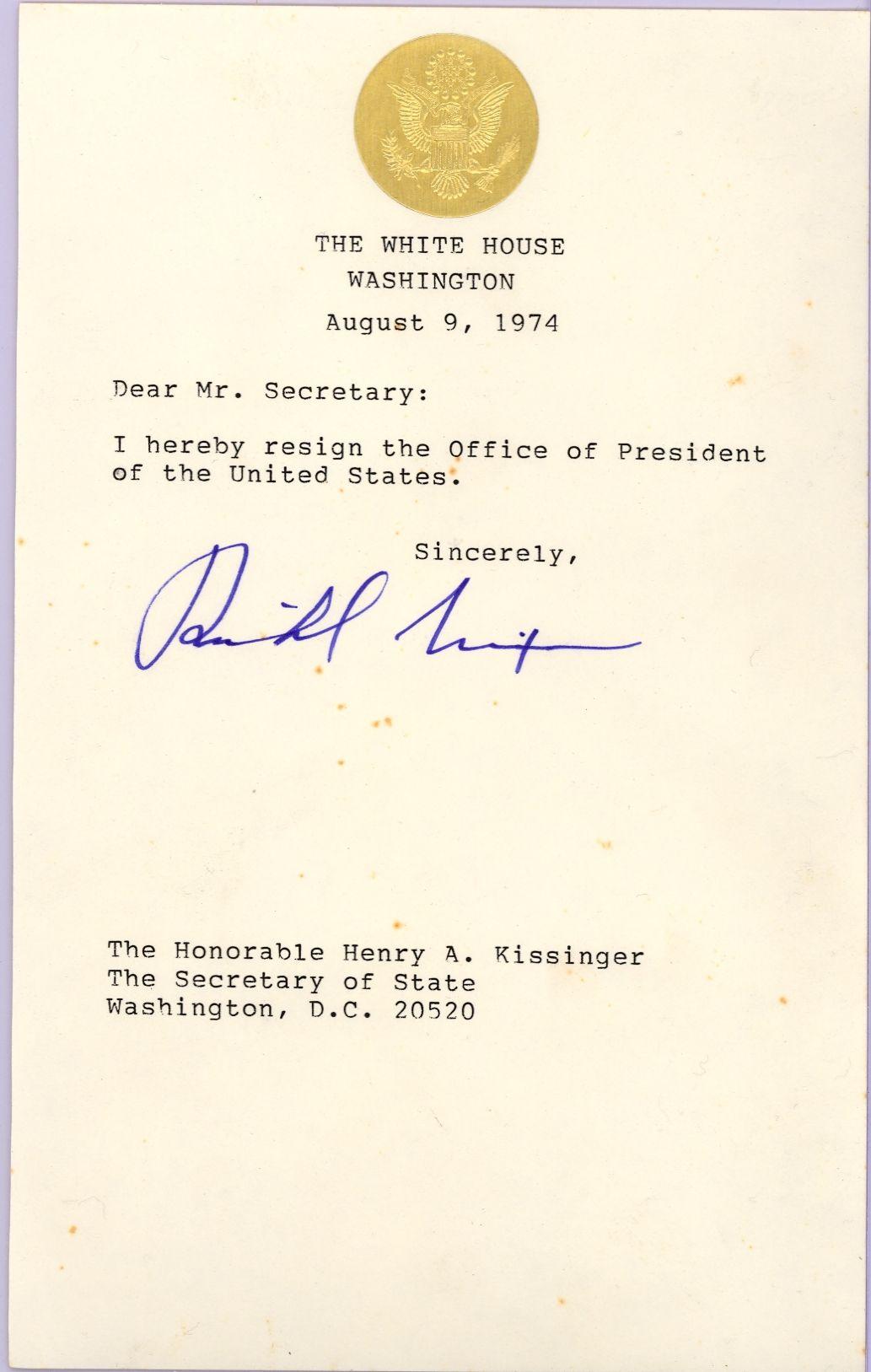 Lot Detail Richard Nixon Resignation