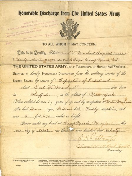 George Patton Signed Honorable Discharge