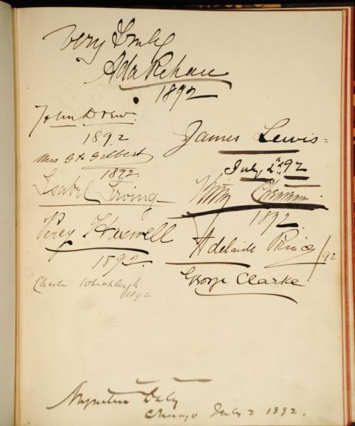 Extremely Rare J. B.Hickok/Wild Bill, and A plethora of famous 19th century celebrities  made their mark–literally– on this highly coveted autograph album