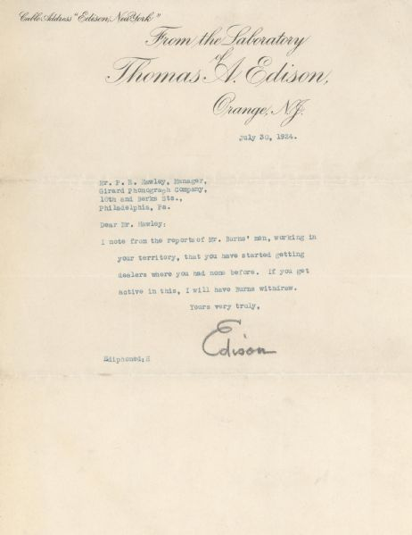 Thomas Edison Collection Of 6 Signed Letters  (Phonograph Business)