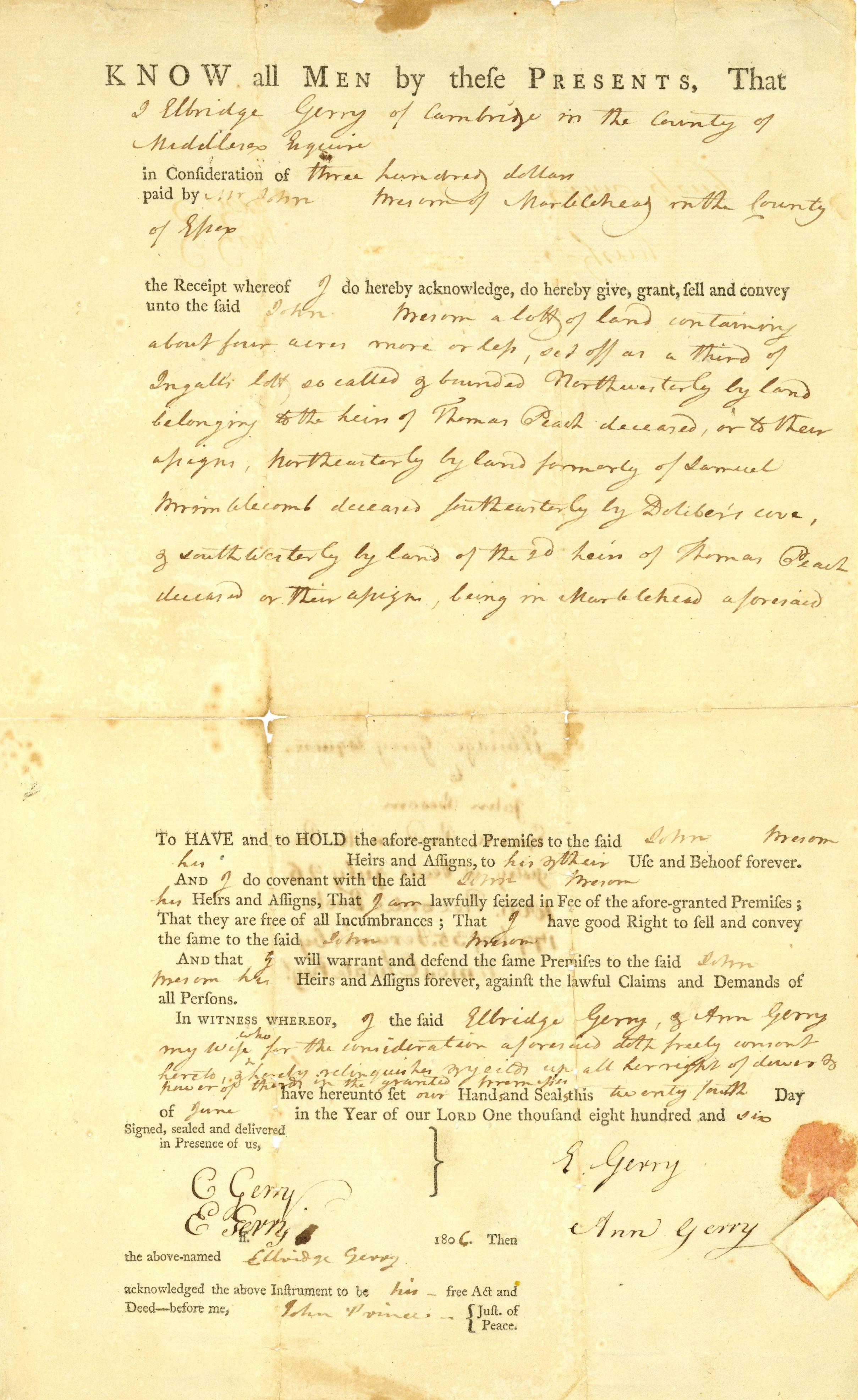 Elbridge Gerry Signature
