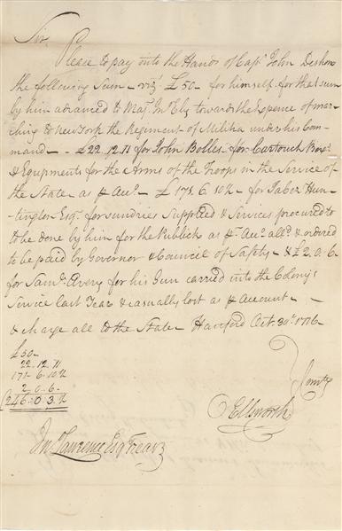 Lot Detail - Oliver Ellsworth 1776 signed Document