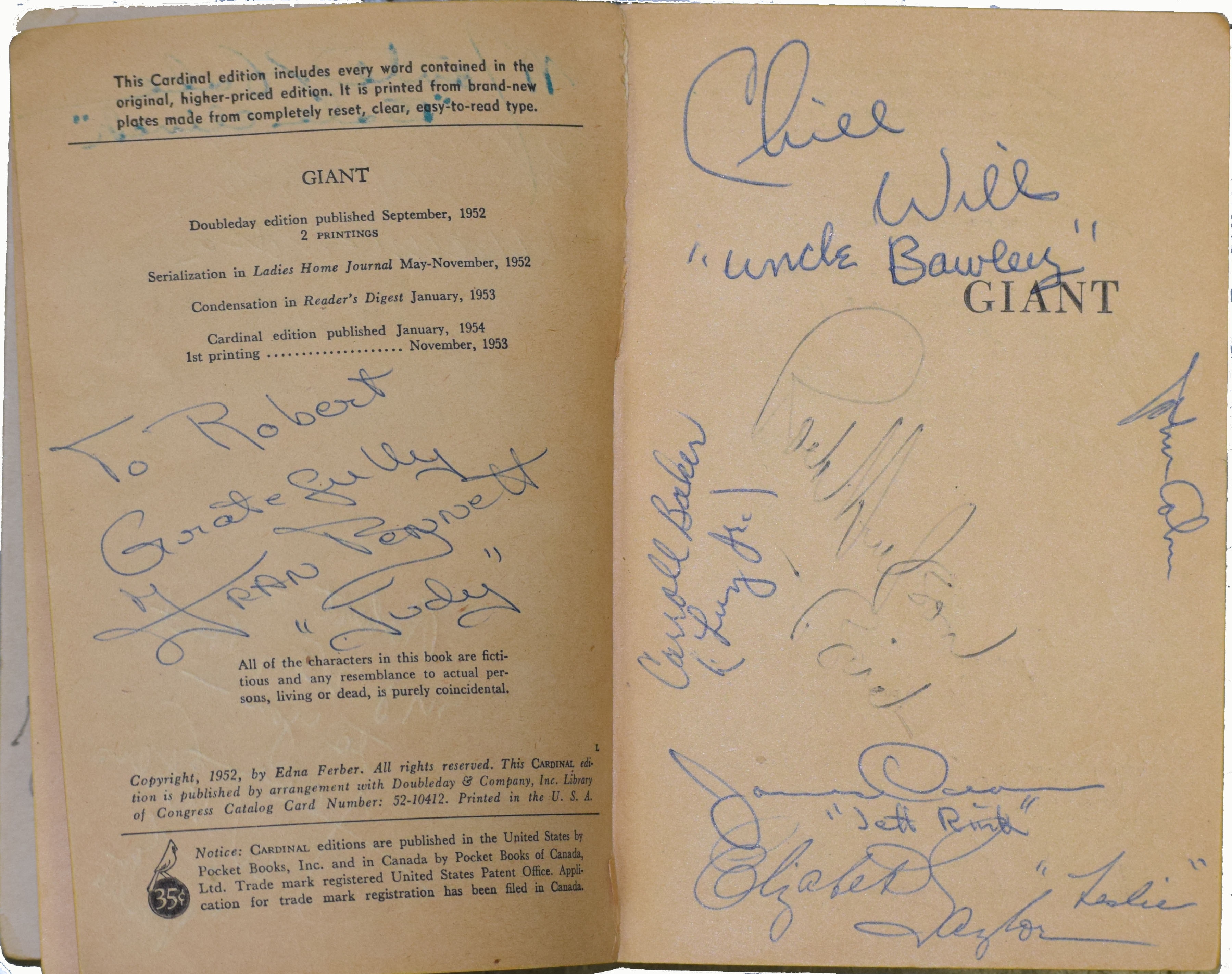 1952 Edna Ferber Incredible Crew Signed Copy Of Giant By The