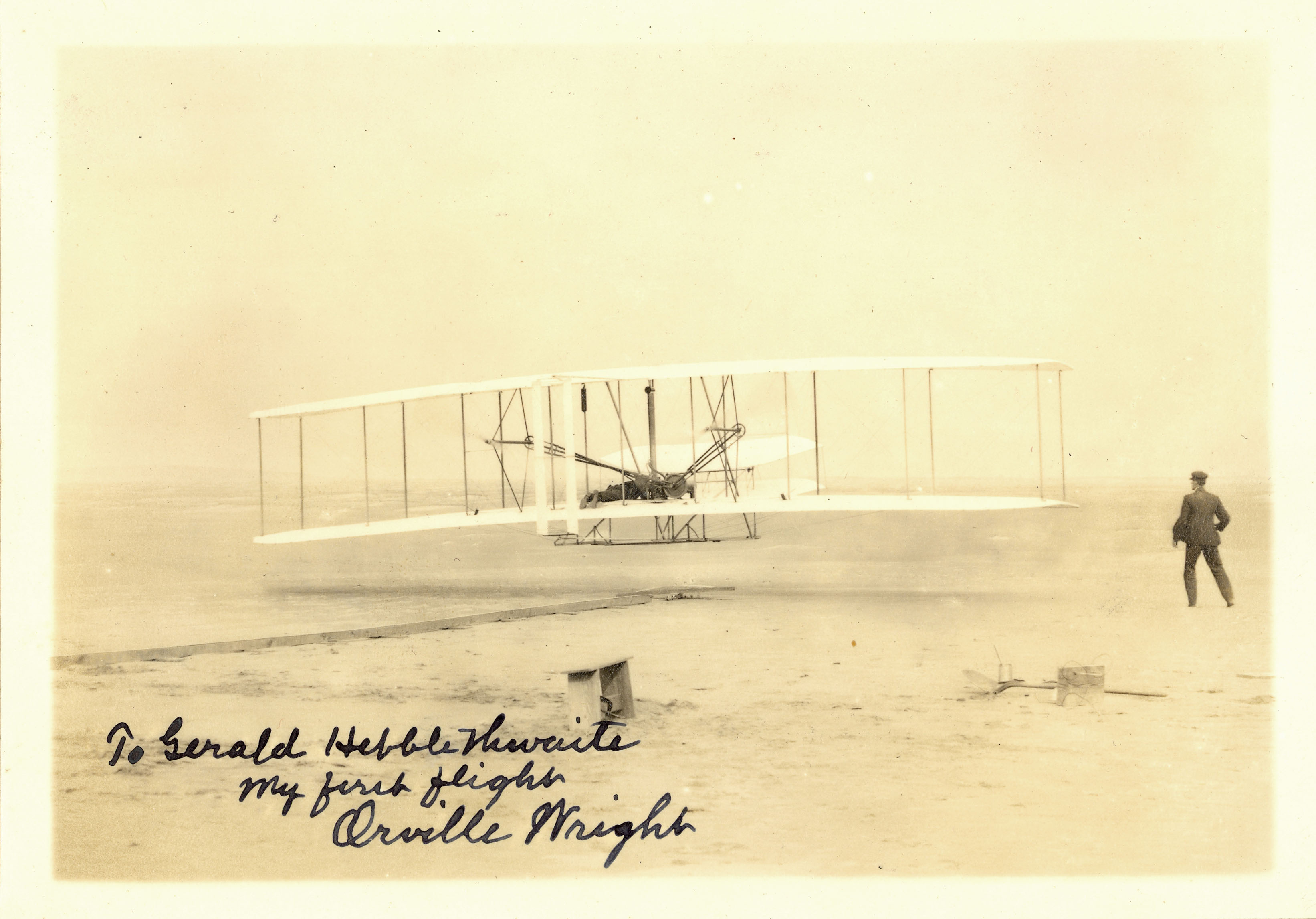 Wright Brothers Flight with lot detail - wright brothers first flight signed photo and collection!