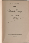T. S. Elliot Selected Essays 1917-1932 Signed