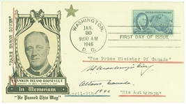 Mackenzie King Prime Minister of Canada  Signed Roosevelt FDC
