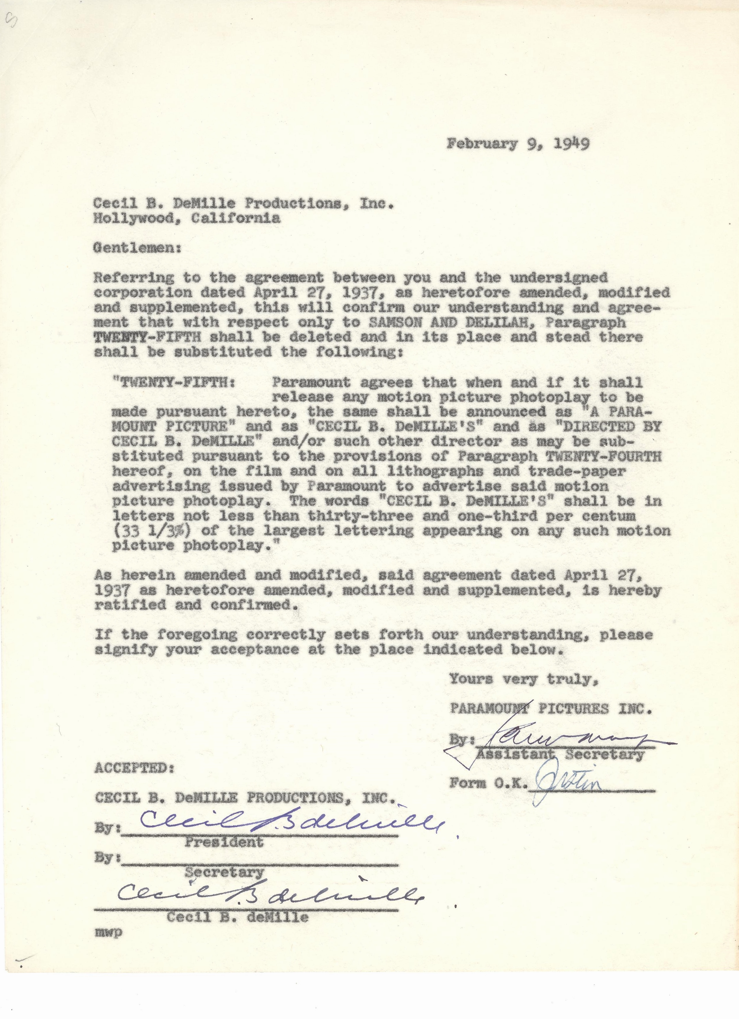 Lot detail cecil b demille signed paramount contract for B b contract