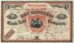 American Bank Note Company, 1863 Stock Certificate, Very Rare!