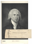James Madison Signed Check as President
