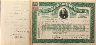 Edison Portland Cement Company, Mock-Up Template & Original Stock Certificate No. 1