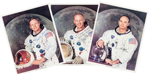 Apollo 11 Set of Individually-Signed White Spacesuit NASA Color Photos