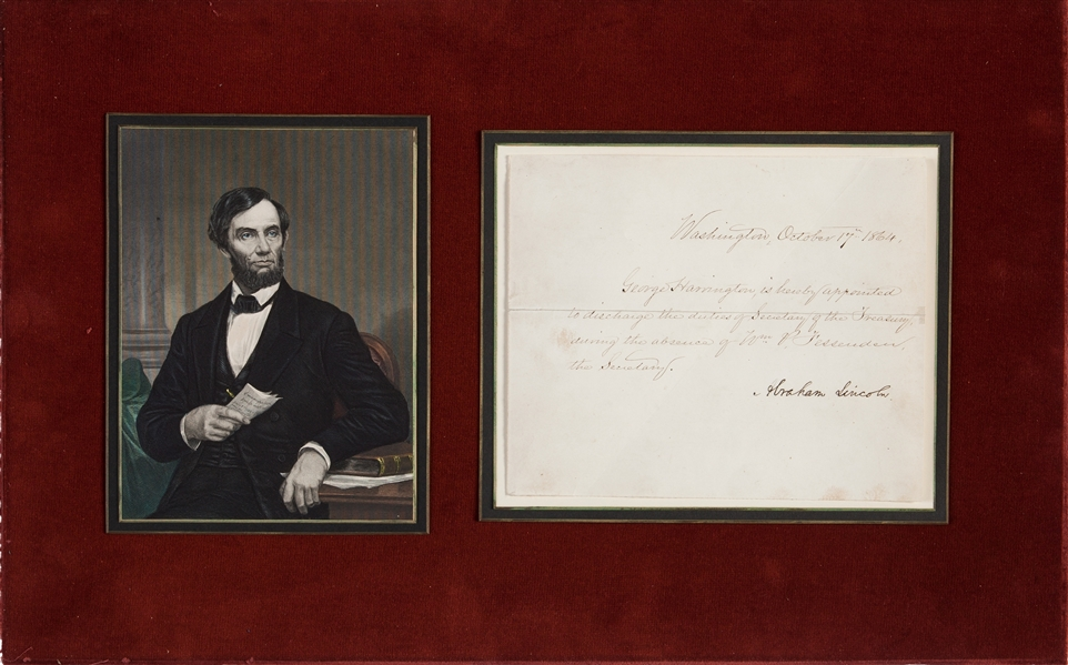 Appointment  as Temporary Secretary of Treasury Signed by Lincoln to the man who would later plan his Funeral