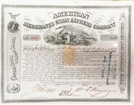 AMERICAN MERCHANTS UNION EXPRESS COMPANY Signed By William Fargo to James Fargo as Trustee.of New York.
