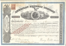 1866 American Express Stock Certificate Signed by Wells and Fargo
