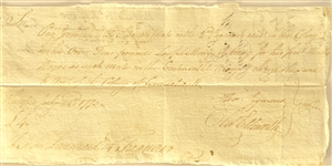 AUTOGRAPH DOCUMENT, SIGNED BY OLIVER ELLSWORTH AND THOMAS SEYMOUR, AUTHORIZING PAYMENT TO Dr Jeremiah West Surgeons mate DURING THE FIRST MONTHS OF THE AMERICAN REVOLUTION]