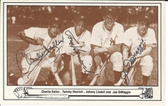 Joe Dimaggio, Johnny Lindell, Charlie Keller, Tommy Henrich 1948 Yankees Outfielders