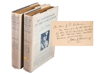 Pershing INSCRIBED Experiences in World War to the Wife of his Commander of the Third Army