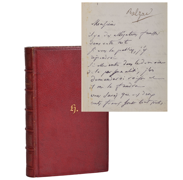 Rare Honre De Balzac Handwritten and signed letter bound in book