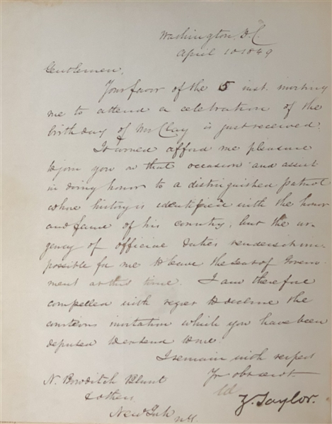 Zachary Taylor letter signed as President Talking About Henry Clay