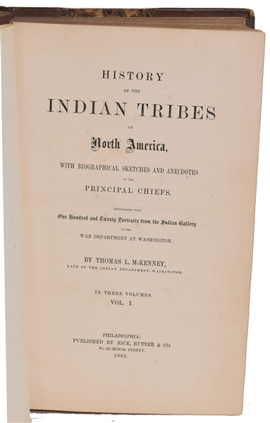 McKenney & Hall, History of the Indian Tribes of North America, 1865, Three Volumes