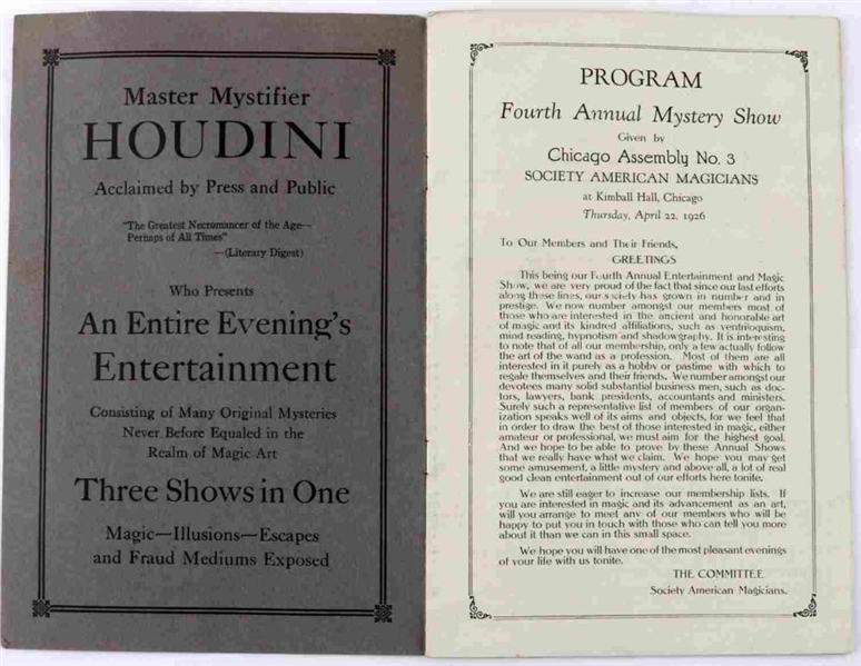 Houdini Signed Program Chicago Magic Program Also Signed by Dr. A. M. Wislon, Dorny, Harold Alberto