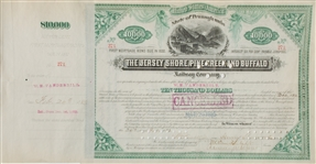 $10,000 RAILWAY BOND OF 1882 JERSEY SHORE, PINE CREEK & BUFFALO RWY SIGNED BY THREE IMPORTANT VANDERBILTS