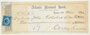 Ralph Waldo Emerson Bank Check to Publisher with signature