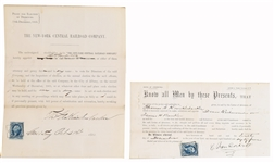 1865 Cornelius Vanderbilt - Commodore signed RAILROAD Proxy signature