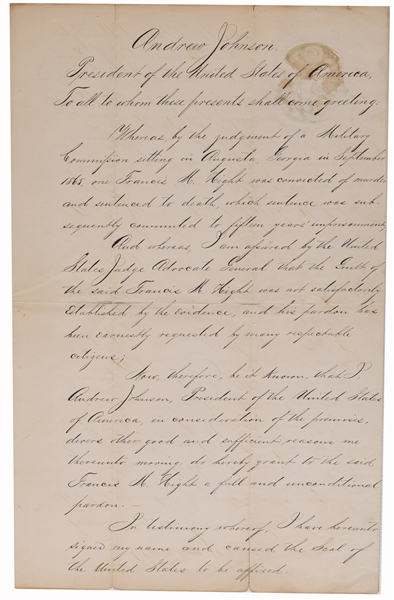 Andrew Johnson Pardon For A Murderer Of A Civil War Captain Who Was Caught With Another Man's Girlfriend