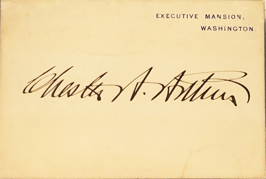 Chester Arthur Executive Mansion Card