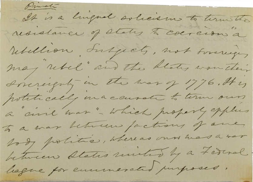 "Incredible Jefferson Davis Letters sovereign may ""rebel"" and the states won their sovereignty in the war of 1776. It is politically inaccurate to the term ours a ""Civil War"""