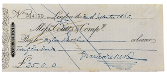Charles Dickens Signed Check