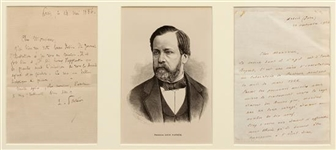 Rare Louis Pasteur ALS , Thanking Artist for Illustration of Russians Cured From Rabies 1886