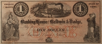 1853 $1 Banking House of Baldwin & Dodge, Council Bluffs, Iowa VF Condition