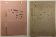 Two signed album pages signed by by the Edgar Douglas Adrian and one by Sir Charles Sherrington.