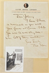 Bill Tilden Letter and Signed Photo