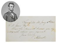 Abraham Lincoln Sends signature as President Elect