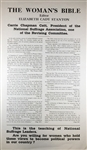 "Womans Suffrage: ""The Womans Bible"" Broadside"
