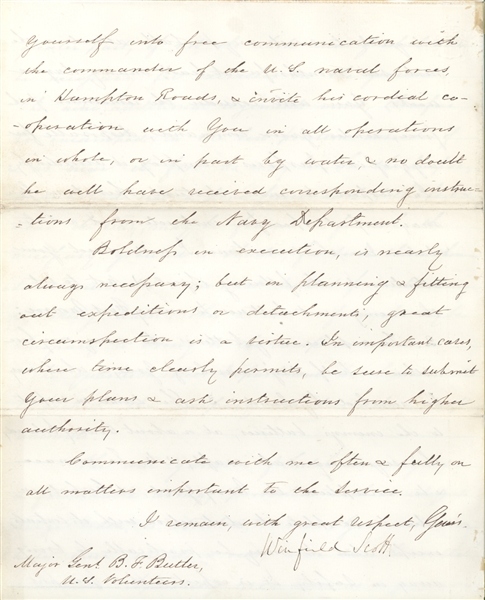 Historically Important Winfield Scott letter