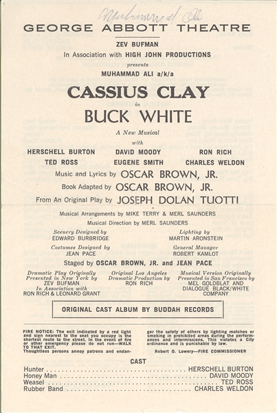 "Extremely Rare Muhammad Ali the Actor, signed Playbill from ""Buck White"""