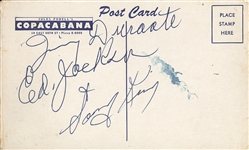 Jimmy Durante, Eddie Jackson and Sonny King Signed Postcard