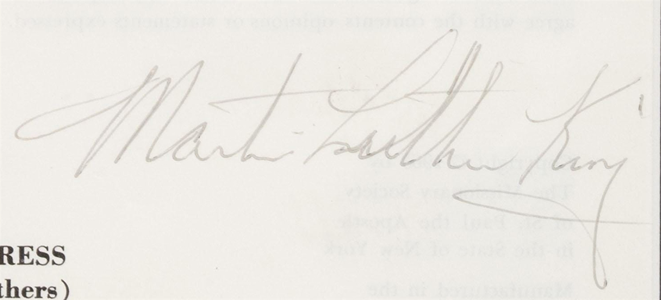 Very Rare Signed Pacem In Terris (Peace on Earth) by Martin Luther King -Program Pope John XXIII - 1963