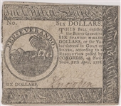 Continental Currency April 11, 1778 $6